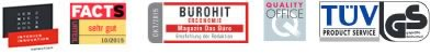 Facts Bürostuhltest 10/2015 sehr gut - - Bürohit Ergonomie Hit - Quality Office - TÜV Produktservice GS Zeichen  iconic-award